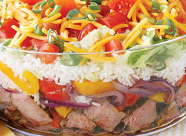 Layered Fajita Rice Salad