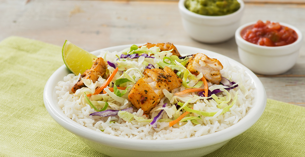 Fish Taco Bowl with Jasmine Rice