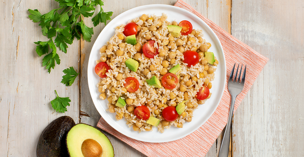 Healthy Rice Bowl With Avocado And Chickpeas