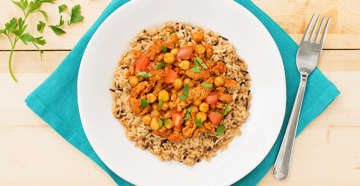 Middle Eastern Rice with Spiced Chicken and Chickpeas