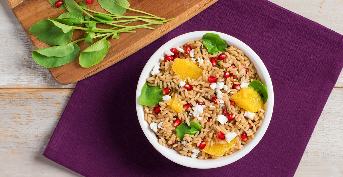 Pomegranate, orange and feta wild rice salad