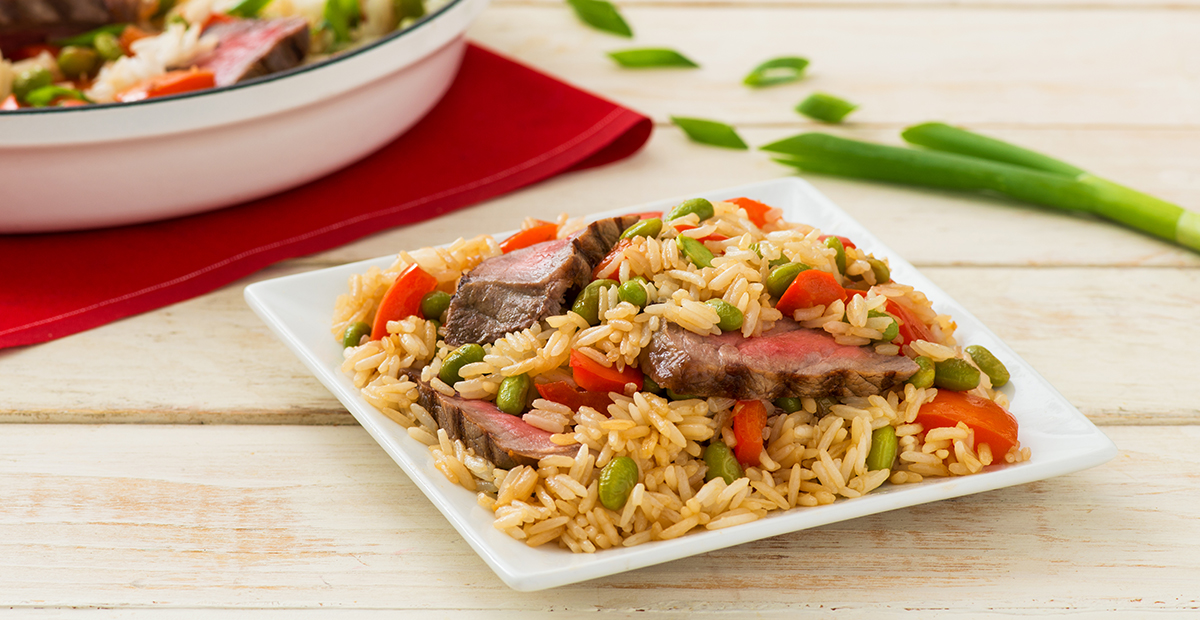 Sesame and Ginger Rice Skillet with Steak