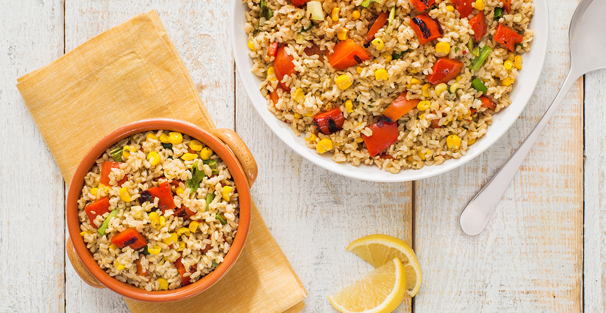 Grilled Red Pepper and Corn Rice Salad