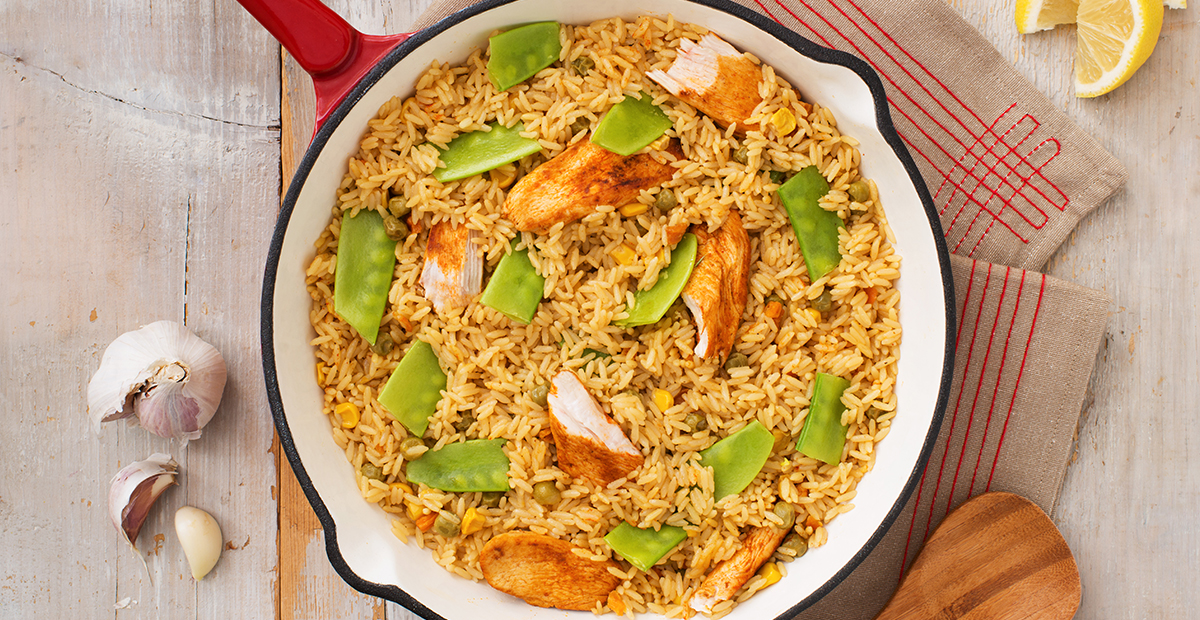 Spring Vegetable and Chicken Paella