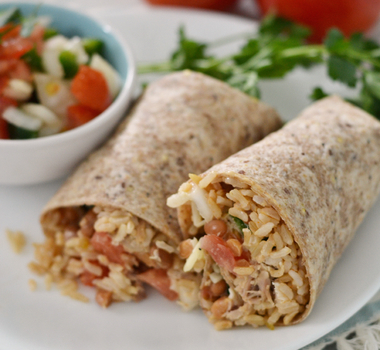 Fast and Easy Whole Grain Chicken Burrito